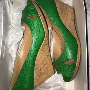 Nine West Kelly Green Leather Wedges Size 8.5